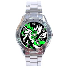 Green, white and black decor Stainless Steel Analogue Watch