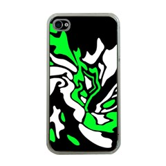 Green, white and black decor Apple iPhone 4 Case (Clear)