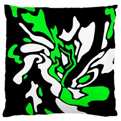 Green, white and black decor Large Cushion Case (Two Sides)