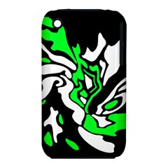 Green, white and black decor Apple iPhone 3G/3GS Hardshell Case (PC+Silicone)