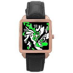 Green, white and black decor Rose Gold Leather Watch