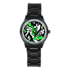 Green, white and black decor Stainless Steel Round Watch