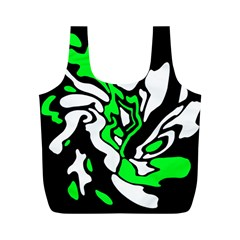 Green, white and black decor Full Print Recycle Bags (M)