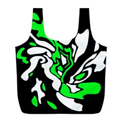 Green, white and black decor Full Print Recycle Bags (L)