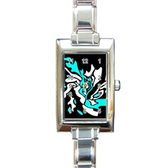 Cyan, black and white decor Rectangle Italian Charm Watch