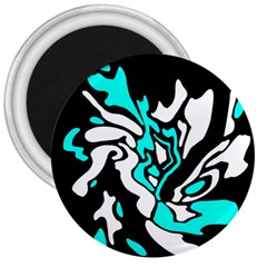 Cyan, black and white decor 3  Magnets