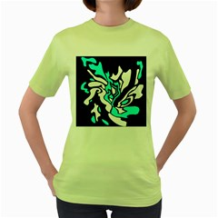 Cyan, black and white decor Women s Green T-Shirt