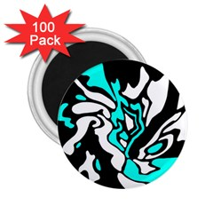Cyan, black and white decor 2.25  Magnets (100 pack)