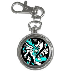 Cyan, black and white decor Key Chain Watches