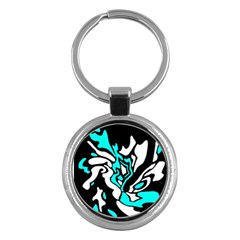 Cyan, black and white decor Key Chains (Round)