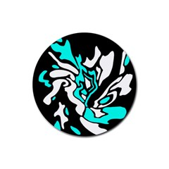 Cyan, black and white decor Rubber Round Coaster (4 pack)