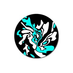 Cyan, black and white decor Magnet 3  (Round)