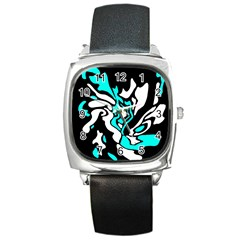 Cyan, black and white decor Square Metal Watch