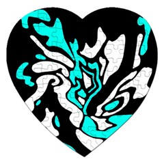Cyan, black and white decor Jigsaw Puzzle (Heart)