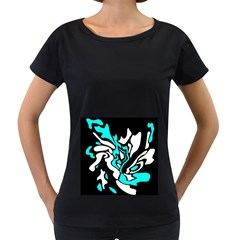 Cyan, black and white decor Women s Loose-Fit T-Shirt (Black)