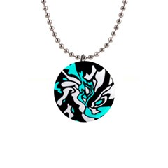 Cyan, black and white decor Button Necklaces