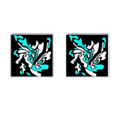 Cyan, black and white decor Cufflinks (Square)