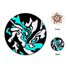 Cyan, black and white decor Playing Cards (Round)