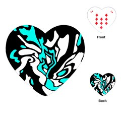 Cyan, black and white decor Playing Cards (Heart)