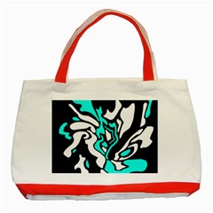 Cyan, black and white decor Classic Tote Bag (Red)