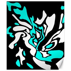Cyan, black and white decor Canvas 8  x 10