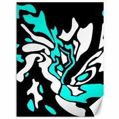Cyan, black and white decor Canvas 36  x 48