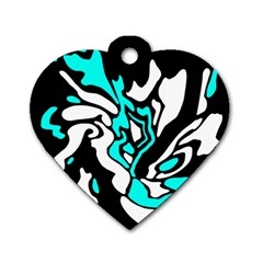 Cyan, black and white decor Dog Tag Heart (One Side)
