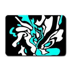 Cyan, black and white decor Small Doormat