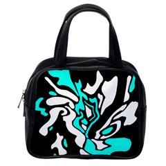 Cyan, black and white decor Classic Handbags (One Side)