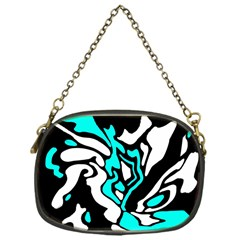Cyan, black and white decor Chain Purses (One Side)