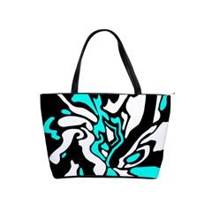 Cyan, black and white decor Shoulder Handbags