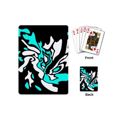 Cyan, black and white decor Playing Cards (Mini)