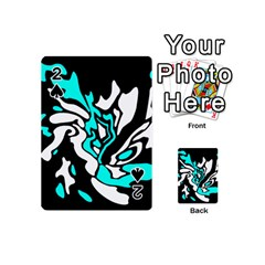 Cyan, black and white decor Playing Cards 54 (Mini)