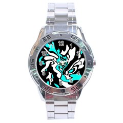 Cyan, black and white decor Stainless Steel Analogue Watch