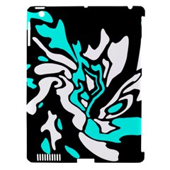 Cyan, black and white decor Apple iPad 3/4 Hardshell Case (Compatible with Smart Cover)