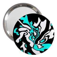 Cyan, black and white decor 3  Handbag Mirrors