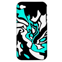 Cyan, black and white decor Apple iPhone 4/4S Hardshell Case (PC+Silicone)