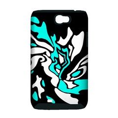 Cyan, black and white decor Samsung Galaxy Note 2 Hardshell Case (PC+Silicone)