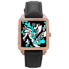 Cyan, black and white decor Rose Gold Leather Watch