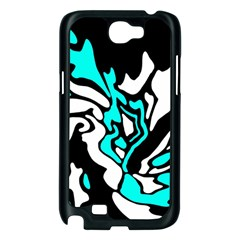 Cyan, black and white decor Samsung Galaxy Note 2 Case (Black)