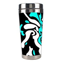 Cyan, black and white decor Stainless Steel Travel Tumblers