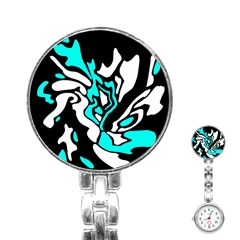 Cyan, black and white decor Stainless Steel Nurses Watch