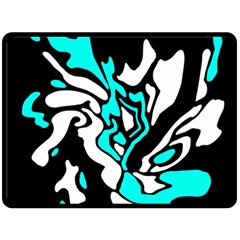 Cyan, black and white decor Double Sided Fleece Blanket (Large)