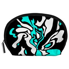 Cyan, black and white decor Accessory Pouches (Large)