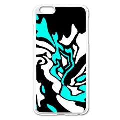 Cyan, black and white decor Apple iPhone 6 Plus/6S Plus Enamel White Case