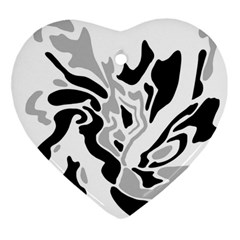 Gray, black and white decor Ornament (Heart)
