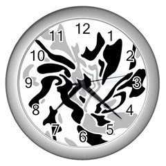 Gray, black and white decor Wall Clocks (Silver)