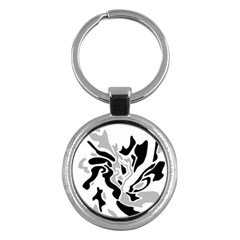 Gray, black and white decor Key Chains (Round)