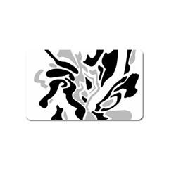 Gray, black and white decor Magnet (Name Card)