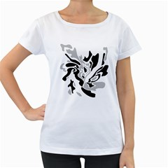 Gray, black and white decor Women s Loose-Fit T-Shirt (White)